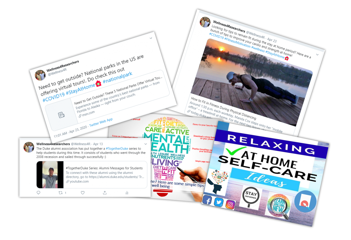 Social media post examples from the Wellness 4 Researchers campaign