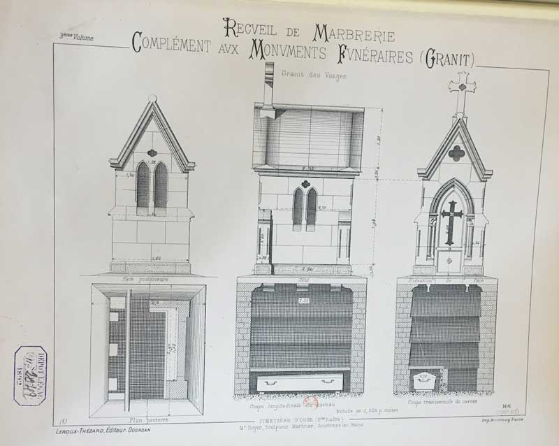 "Photo: Designs for a family chapel showing cross sections of the burial vault below, from N. Gateuil, ""Recueil de marbrerie et monuments funéraires,"" vol. 3 (Dourdan: Leroux-Thézard, 1881). Collection of the Bibliothèque Forney, Paris."