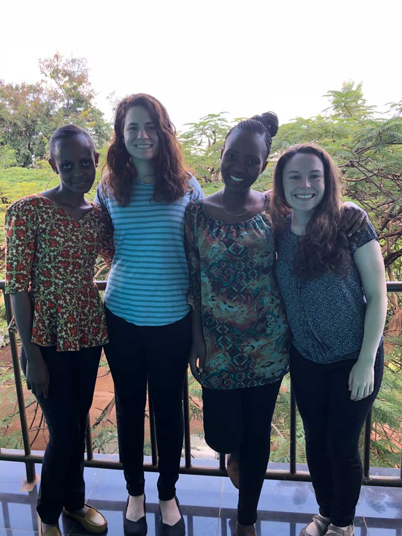 Photo: My dissertation study team in Tanzania (from left): Neema, Emily (Duke Ph.D. student), Mage, Jessica (Duke Ph.D. student).