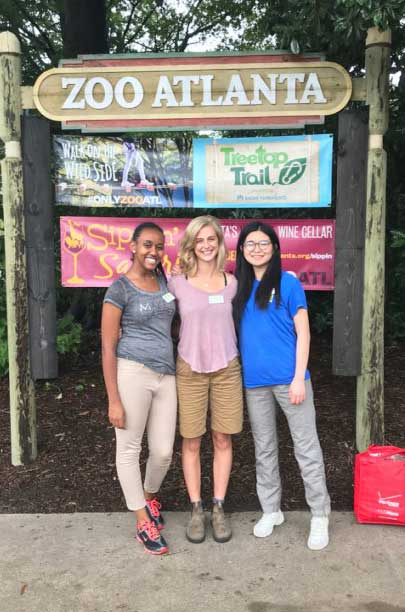 Photo: Wen Zhou (right) and two research interns, Gianna and Feruth, after a day of hard work in Zoo Atlanta.